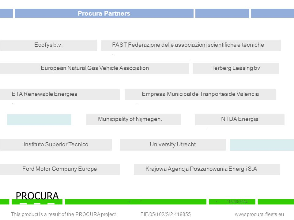 This product is a result of the PROCURA project EIE/05/102/SI2.419855 www.procura-fleets.eu **12/06/2014 PROCURA Alternative motor fuels.