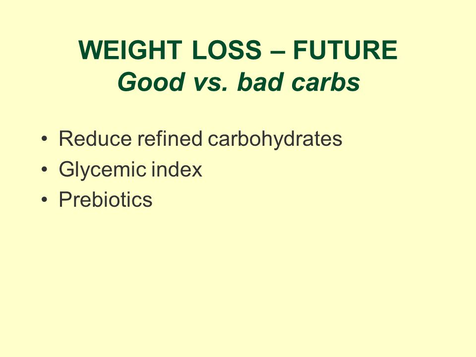 WEIGHT LOSS – FUTURE Good vs. bad carbs Reduce refined carbohydrates Glycemic index Prebiotics