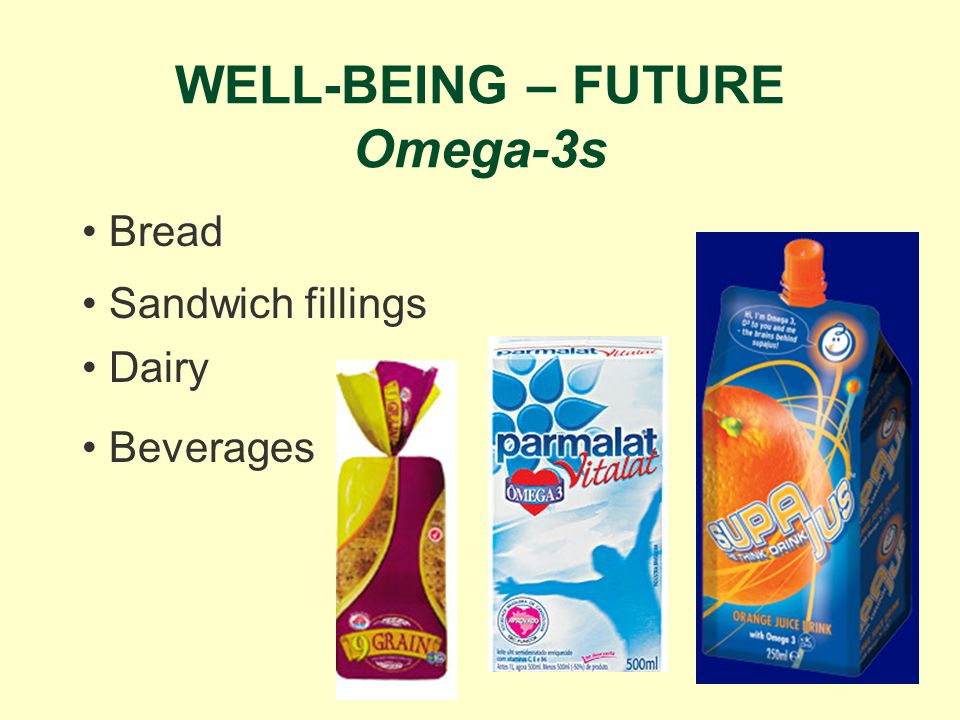 WELL-BEING – FUTURE Omega-3s Dairy Bread Beverages Sandwich fillings