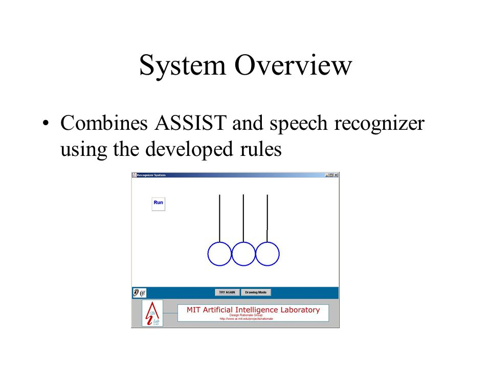 System Overview Combines ASSIST and speech recognizer using the developed rules
