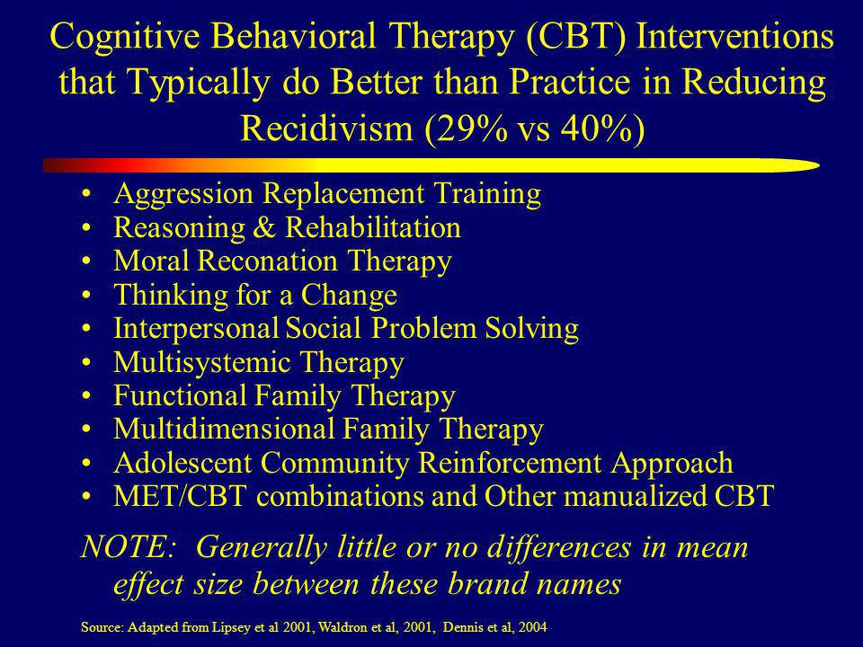 Cognitive Behavioral Therapy (CBT) Interventions that Typically do Better than Practice in Reducing Recidivism (29% vs 40%) Aggression Replacement Training Reasoning & Rehabilitation Moral Reconation Therapy Thinking for a Change Interpersonal Social Problem Solving Multisystemic Therapy Functional Family Therapy Multidimensional Family Therapy Adolescent Community Reinforcement Approach MET/CBT combinations and Other manualized CBT NOTE: Generally little or no differences in mean effect size between these brand names Source: Adapted from Lipsey et al 2001, Waldron et al, 2001, Dennis et al, 2004