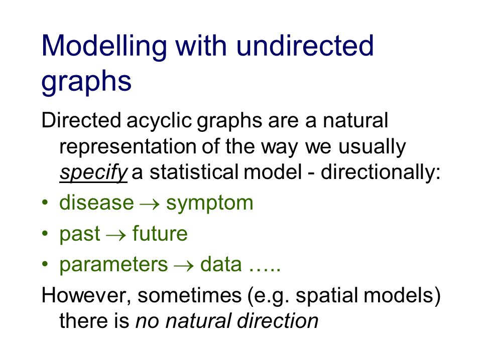 Modelling with undirected graphs Directed acyclic graphs are a natural representation of the way we usually specify a statistical model - directionally: disease symptom past future parameters data …..