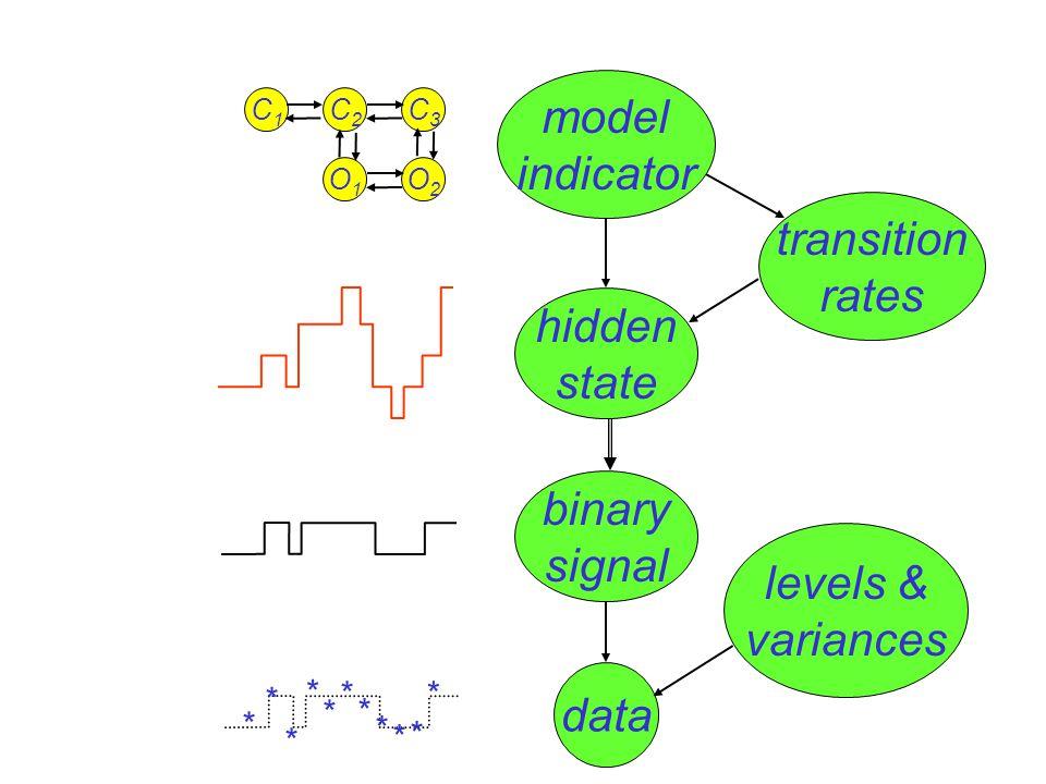 levels & variances model indicator transition rates hidden state data binary signal O1O1 O2O2 C1C1 C2C2 C3C3 * * * * * * * * * * *