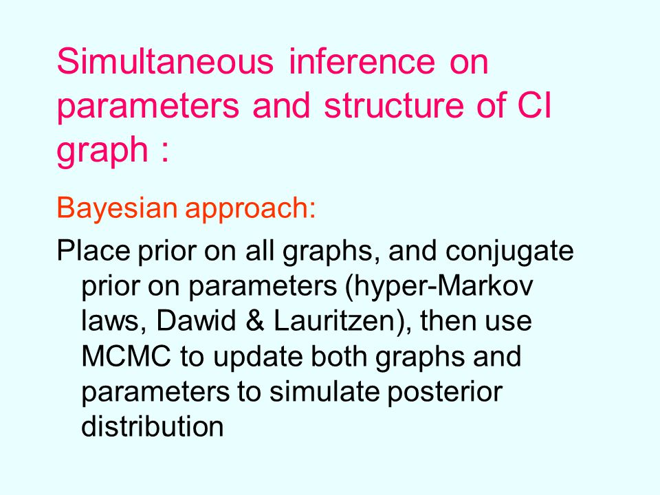 Simultaneous inference on parameters and structure of CI graph : Bayesian approach: Place prior on all graphs, and conjugate prior on parameters (hyper-Markov laws, Dawid & Lauritzen), then use MCMC to update both graphs and parameters to simulate posterior distribution
