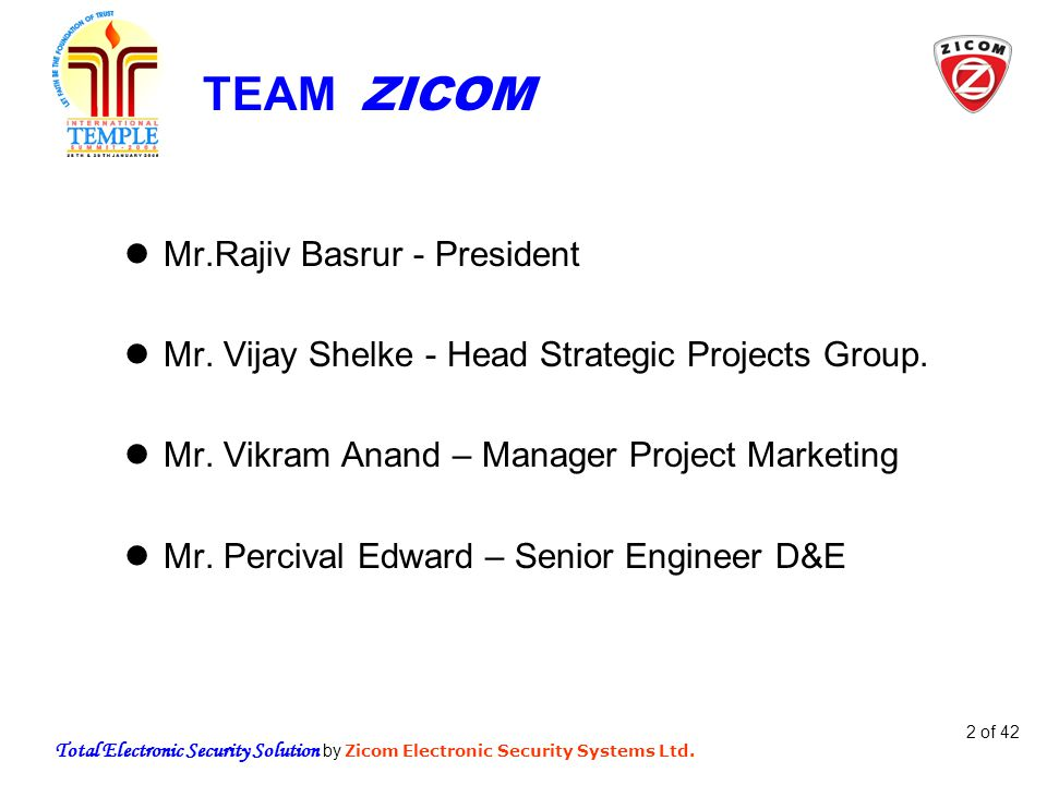 Total Electronic Security Solution by Zicom Electronic Security Systems Ltd.