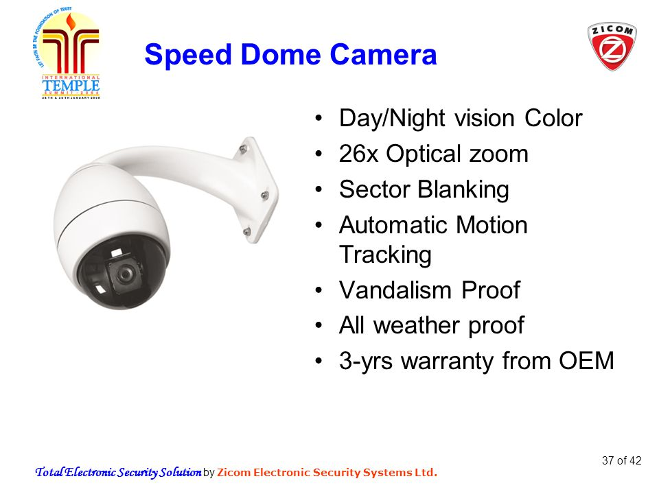 Total Electronic Security Solution by Zicom Electronic Security Systems Ltd. 37 of 42 Speed Dome Camera Day/Night vision Color 26x Optical zoom Sector