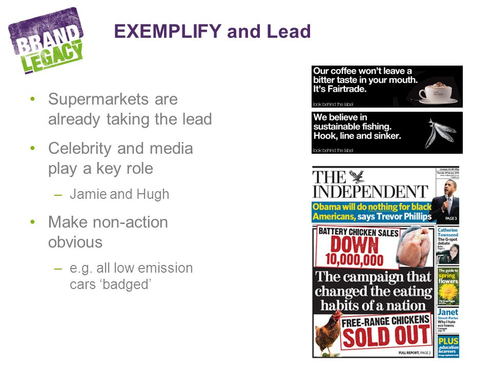 EXEMPLIFY and Lead Supermarkets are already taking the lead Celebrity and media play a key role –Jamie and Hugh Make non-action obvious –e.g.