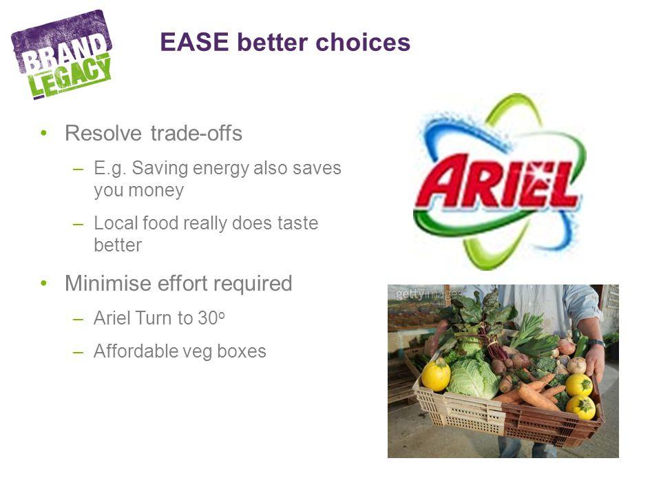 EASE better choices Resolve trade-offs –E.g.