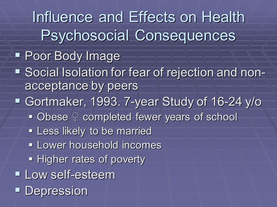Influence and Effects on Health Psychosocial Consequences Poor Body Image Poor Body Image Social Isolation for fear of rejection and non- acceptance by peers Social Isolation for fear of rejection and non- acceptance by peers Gortmaker, 1993.