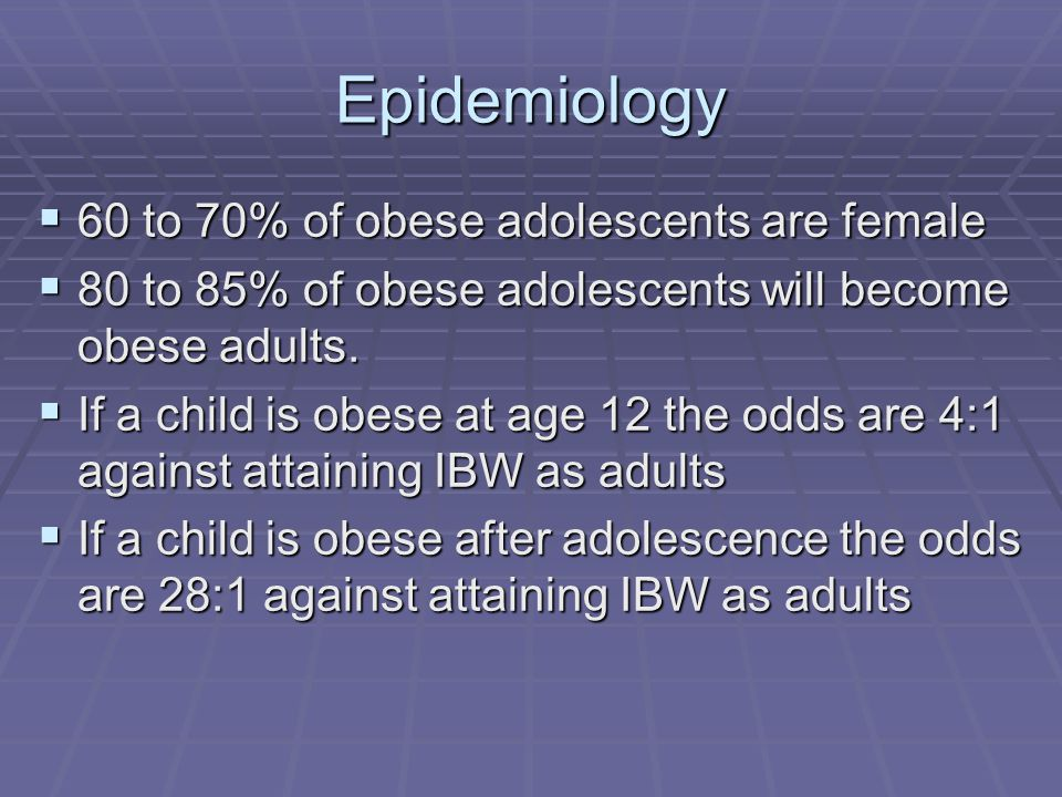 Epidemiology 60 to 70% of obese adolescents are female 60 to 70% of obese adolescents are female 80 to 85% of obese adolescents will become obese adults.