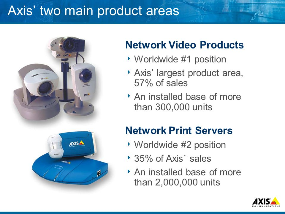 Axis two main product areas Network Video Products Worldwide #1 position Axis largest product area, 57% of sales An installed base of more than 300,000 units Network Print Servers Worldwide #2 position 35% of Axis´ sales An installed base of more than 2,000,000 units