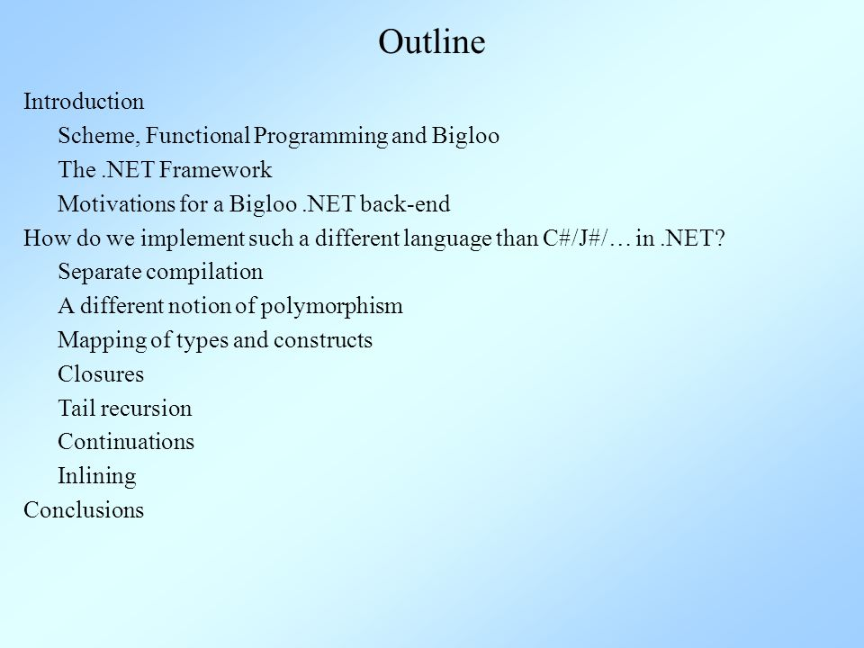 Scheme A functional language (strict evaluation, side-effects), derived from L ISP First class data types: Numerals, strings, symbols, pairs, vectors (arrays), lambdas High-order language functions are first-class objects Dynamic type-checking Very powerful macro system + eval at run-time Prefixed notation n-ary functions made coherent (and cond1 cond2 cond3 cond4 …) A standard: R5RS (Revised 5 Report on Scheme)