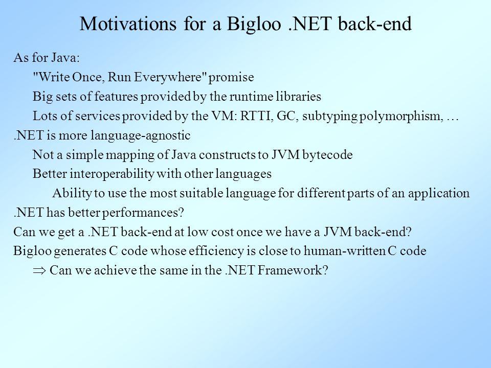 ··· Bigloo and its back-ends OS Bigloo C Runtime OS JVM Bigloo JVM Runtime Bigloo JVM App OS CLR Bigloo.NET RT Bigloo CIL App C# App Eiffel# App Bigloo Application Bigloo Compiler Bigloo Runtime Bigloo Runtime Bigloo C App