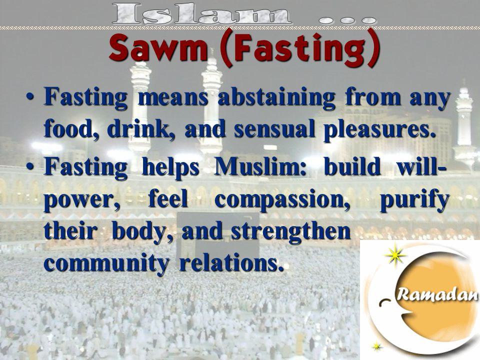 Fasting means abstaining from any food, drink, and sensual pleasures.Fasting means abstaining from any food, drink, and sensual pleasures.