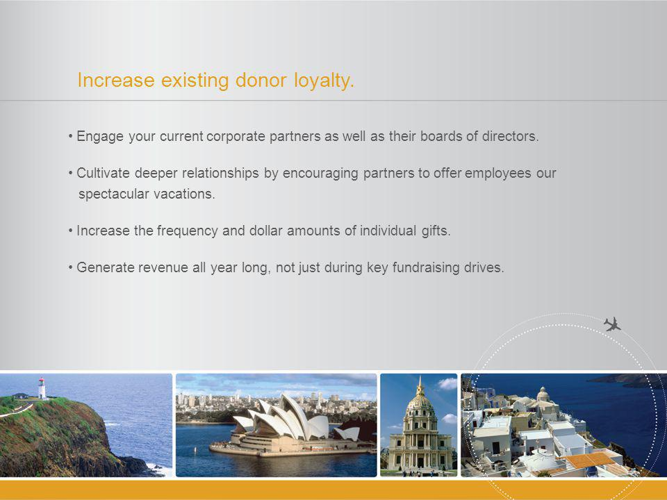 Increase existing donor loyalty.