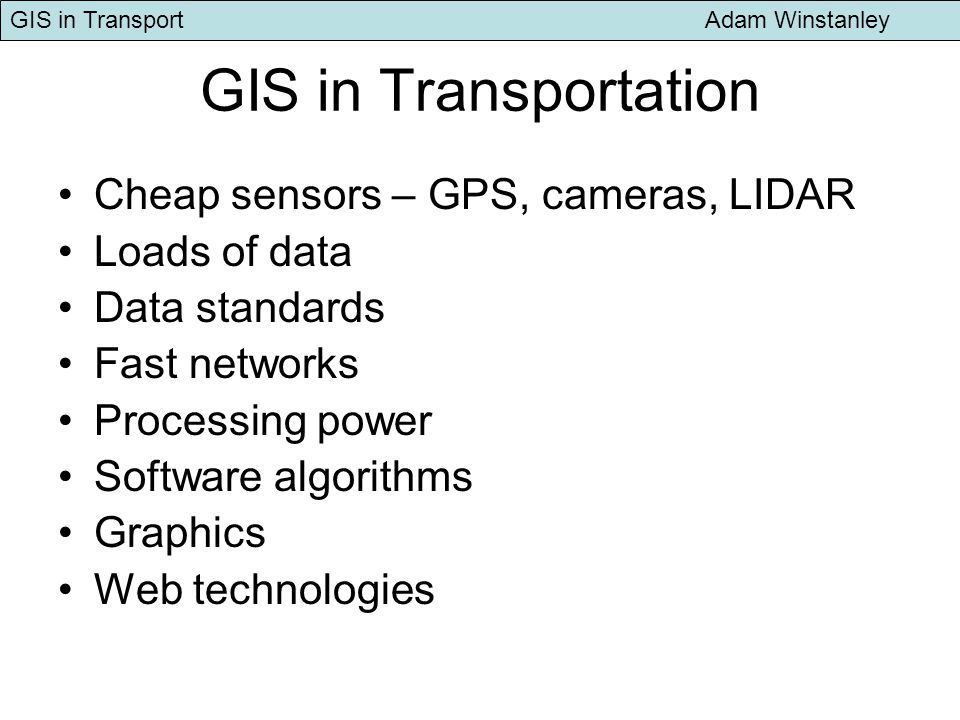 GIS in Transport Adam Winstanley The AA Route Planner Geographical Distance Only
