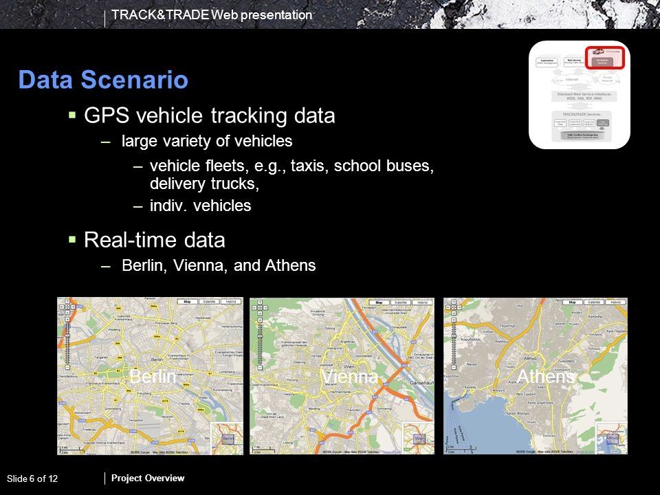 TRACK&TRADE Web presentation Project Overview Slide 6 of 12 Data Scenario GPS vehicle tracking data –large variety of vehicles –vehicle fleets, e.g.,
