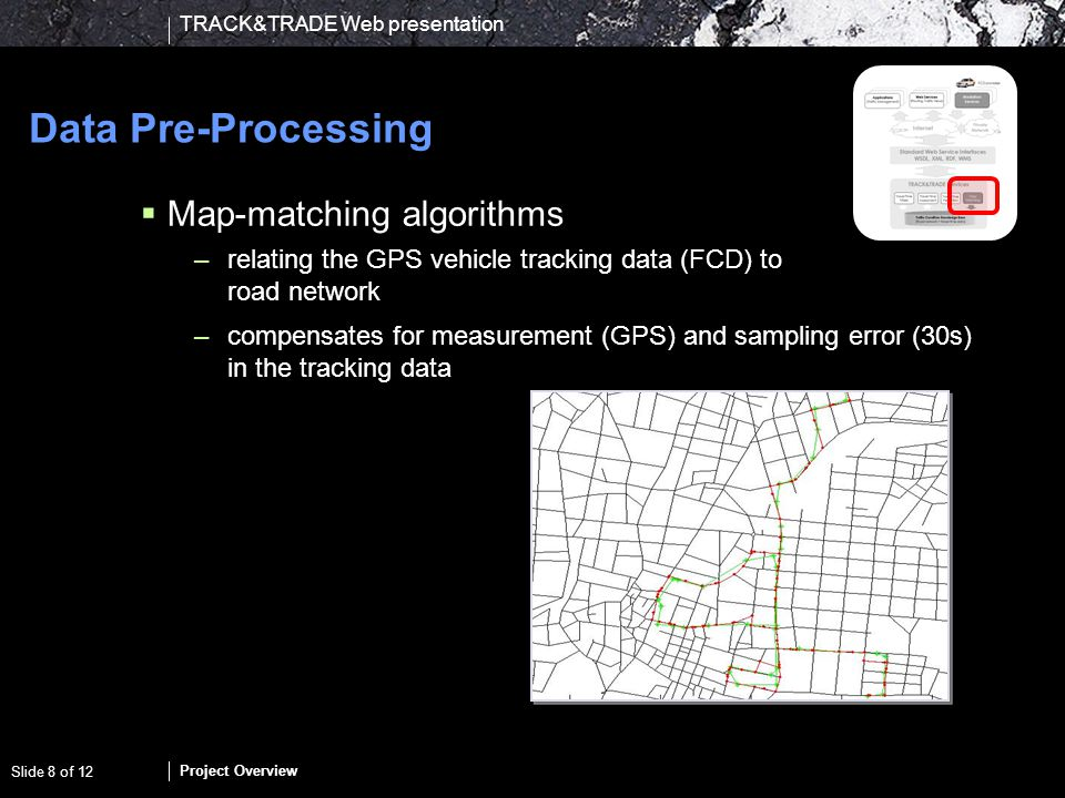 TRACK&TRADE Web presentation Project Overview Slide 9 of 12 Data Management Computing link-based travel times –derivation of current and future travel times from collected –current and –historic travel time data From route-based to road-based travel times –distributing travel times from routes (tracking data) to links in the road network Inhomogeneous FCD problem –different types of vehicles producing data –making travel time data comparable