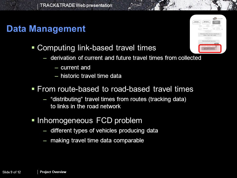 TRACK&TRADE Web presentation Project Overview Slide 10 of 12 Services FCD collection service –simplest possible way for new data providers to connect to the data mart Value-added services to provide elementary building blocks of rich(er) services (API) –Travel time maps – visualization of travel time conditions –Travel-time assessment and prediction service - given a road network and time horizon provide (expected) travel times Evaluation –integration with existing services – fleet management, routing, traffic-light switching
