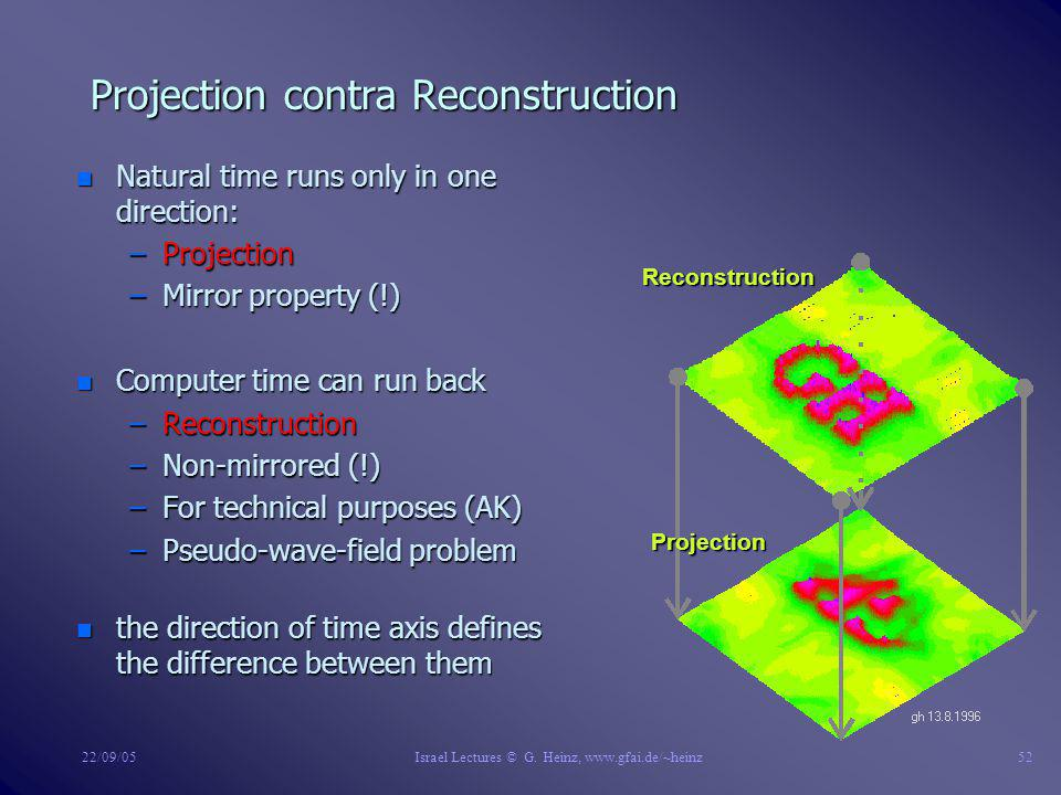 22/09/05Israel Lectures © G. Heinz, www.gfai.de/~heinz51 Permutation and Decomposition of Scenes n Down: high dim. scenes can be decomposed to lower d