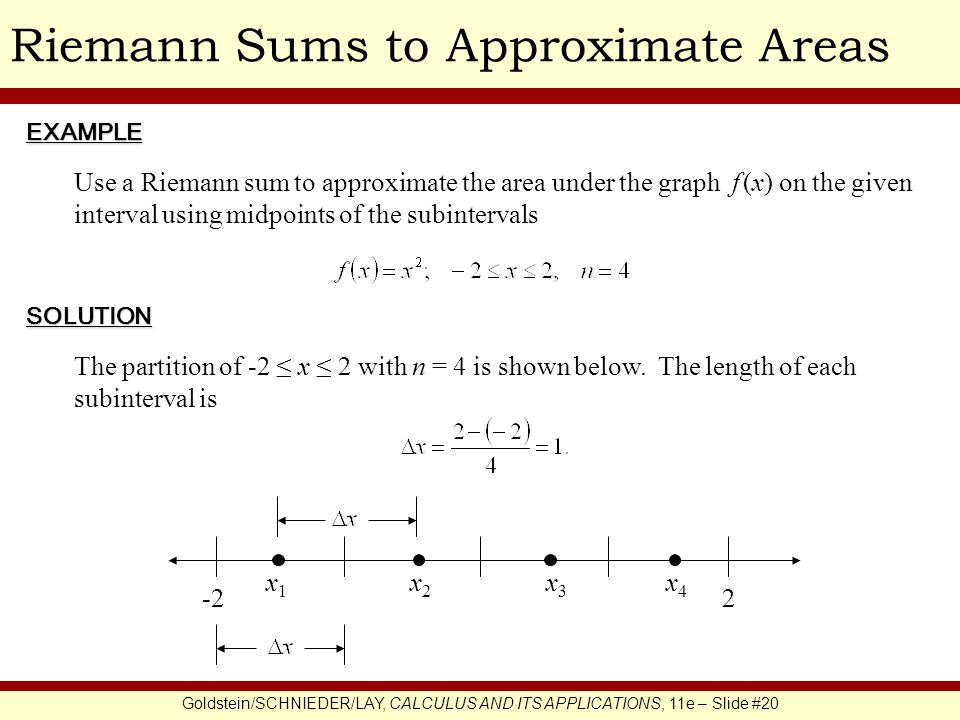 Goldstein/SCHNIEDER/LAY, CALCULUS AND ITS APPLICATIONS, 11e – Slide #20 Riemann Sums to Approximate AreasEXAMPLE SOLUTION Use a Riemann sum to approxi