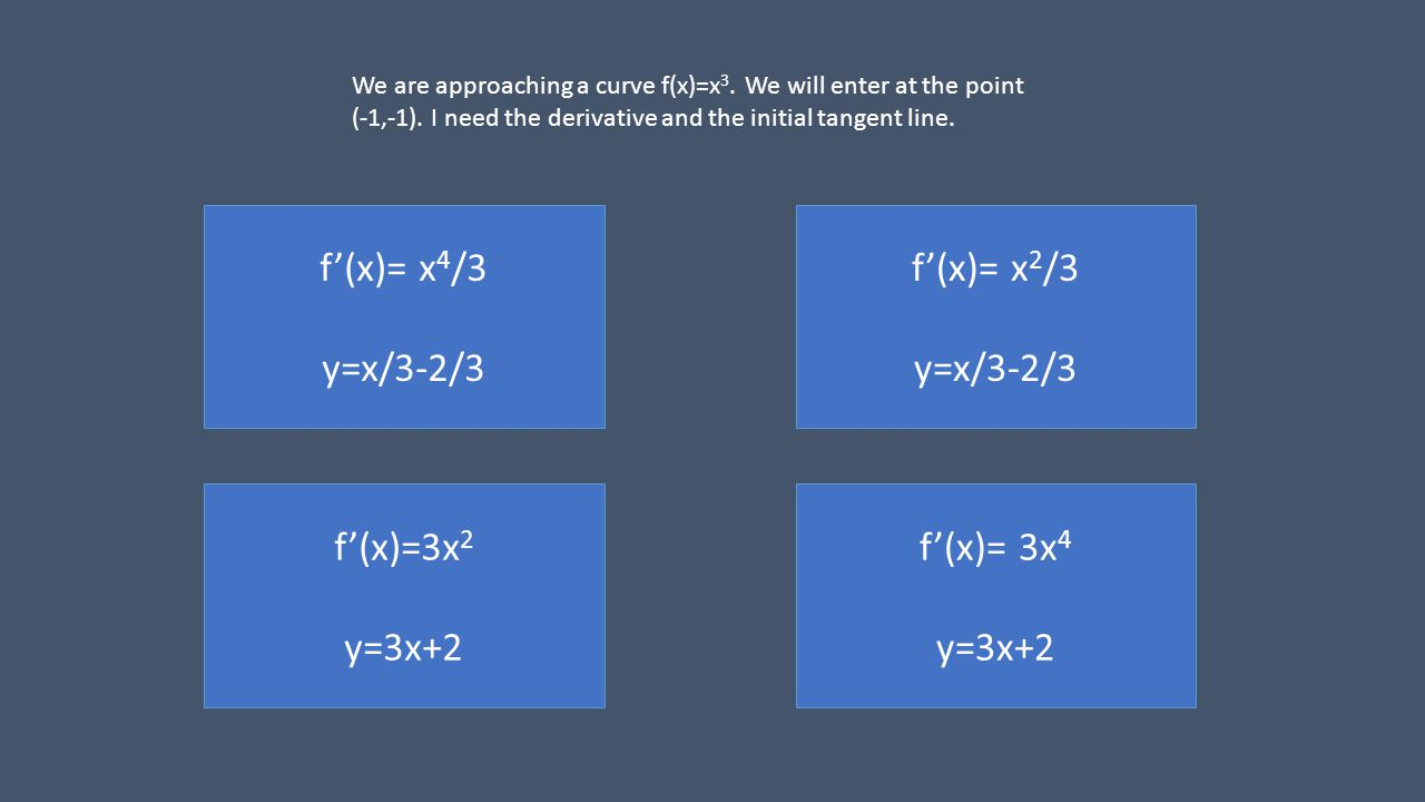 f(x)= x 2 /3 y=x/3-2/3 f(x)= x 4 /3 y=x/3-2/3 f(x)=3x 2 y=3x+2 f(x)= 3x 4 y=3x+2 We are approaching a curve f(x)=x 3.