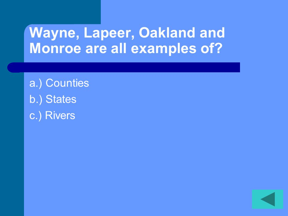 We live in Wayne County which is also part of Michigan. a.) TRUE b.) FALSE