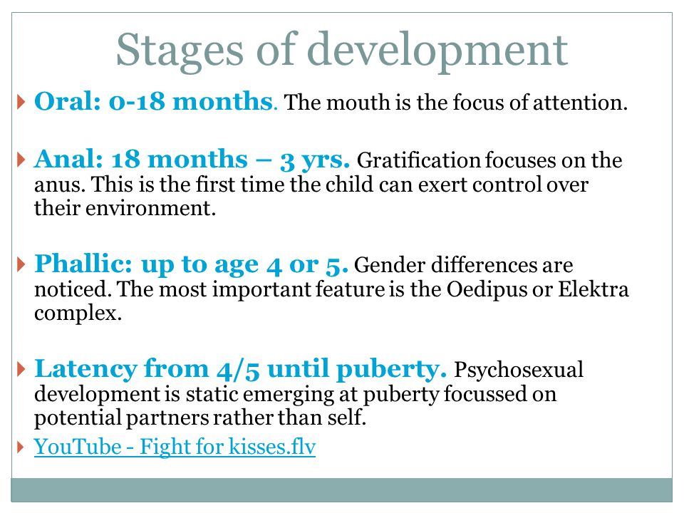 Stages of development Oral: 0-18 months. The mouth is the focus of attention. Anal: 18 months – 3 yrs. Gratification focuses on the anus. This is the