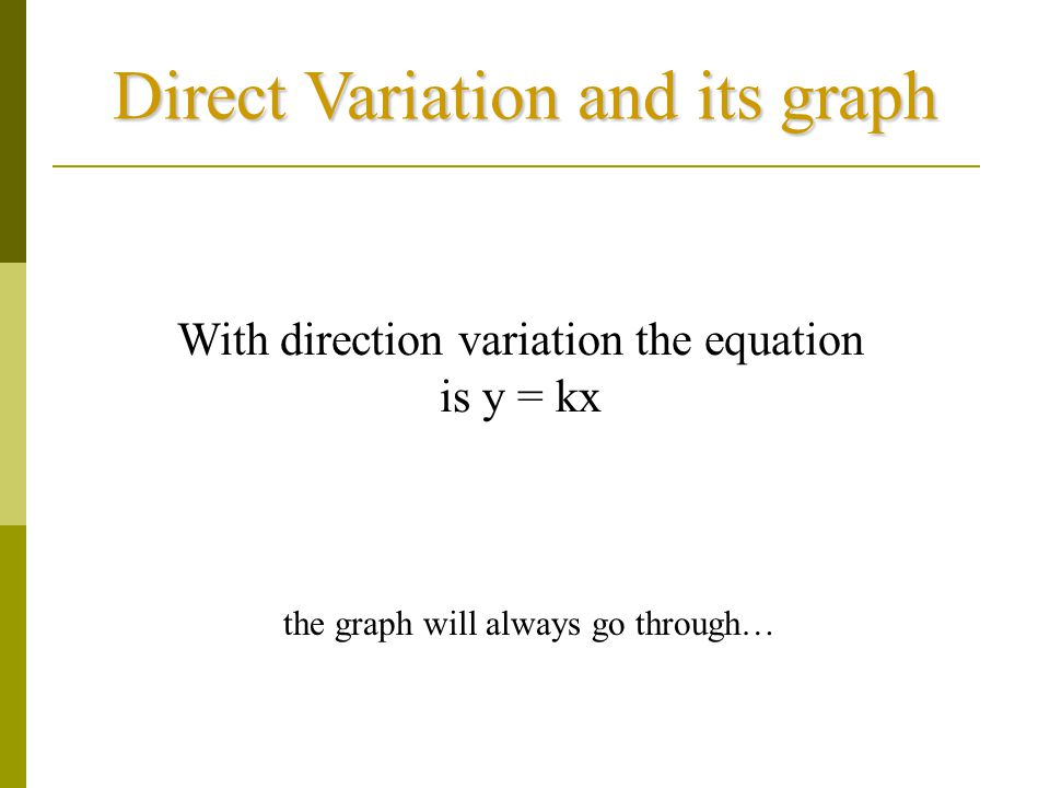 Direct Variation and its graph With direction variation the equation is y = kx the graph will always go through…