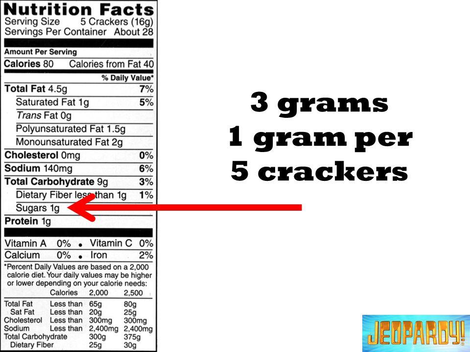 3 grams 1 gram per 5 crackers