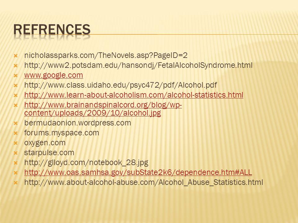 nicholassparks.com/TheNovels.asp?PageID=2 http://www2.potsdam.edu/hansondj/FetalAlcoholSyndrome.html www.google.com http://www.class.uidaho.edu/psyc472/pdf/Alcohol.pdf http://www.learn-about-alcoholism.com/alcohol-statistics.html http://www.brainandspinalcord.org/blog/wp- content/uploads/2009/10/alcohol.jpg http://www.brainandspinalcord.org/blog/wp- content/uploads/2009/10/alcohol.jpg bermudaonion.wordpress.com forums.myspace.com oxygen.com starpulse.com http://glloyd.com/notebook_28.jpg http://www.oas.samhsa.gov/subState2k6/dependence.htm#ALL http://www.about-alcohol-abuse.com/Alcohol_Abuse_Statistics.html