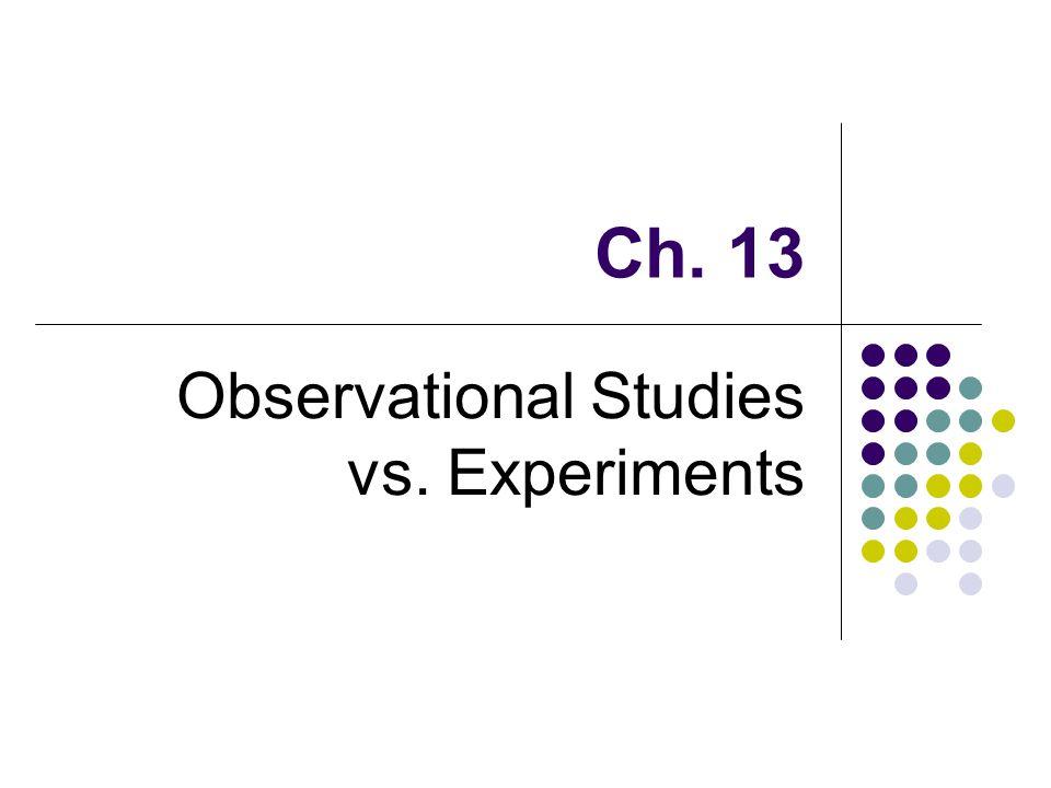 Ch. 13 Observational Studies vs. Experiments