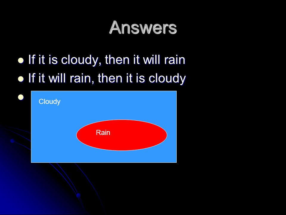Answers If it is cloudy, then it will rain If it is cloudy, then it will rain If it will rain, then it is cloudy If it will rain, then it is cloudy Cl