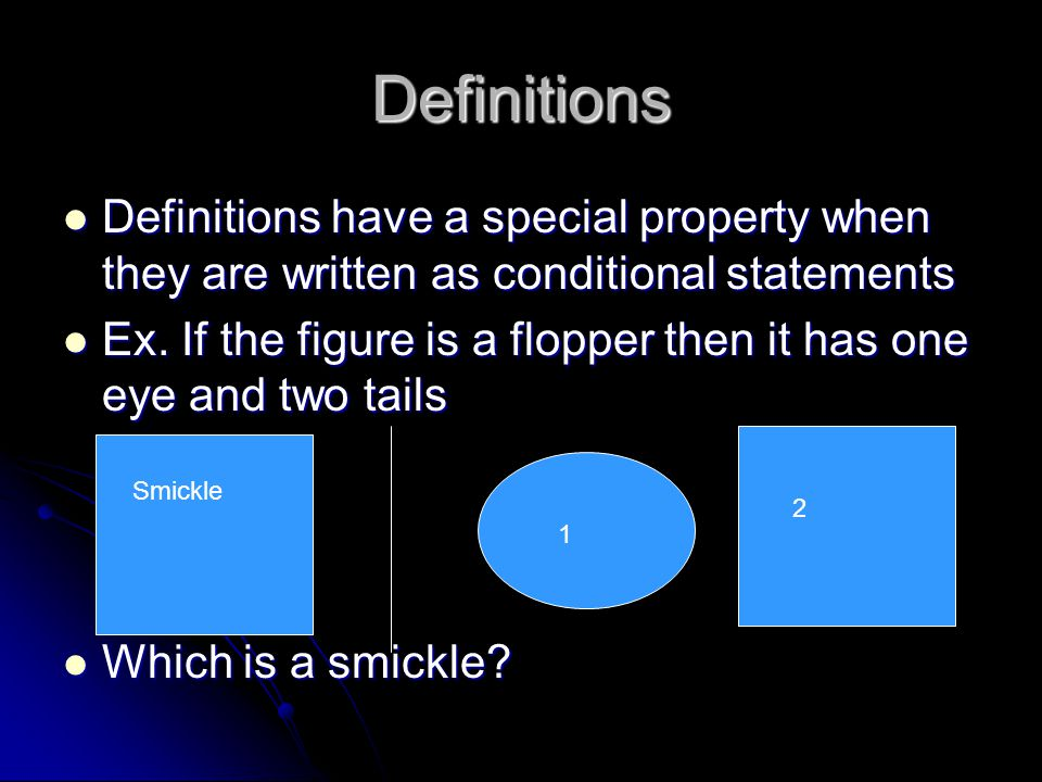 Definitions Definitions have a special property when they are written as conditional statements Definitions have a special property when they are writ