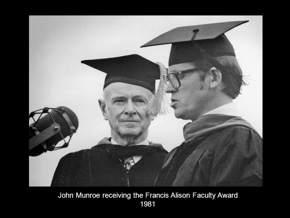 John Munroe receiving the Francis Alison Faculty Award 1981