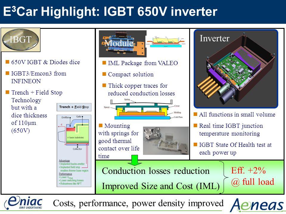 E 3 Car Highlight: IGBT 650V inverter IBGT Modul Improved Size and Cost (IML) Costs, performance, power density improved 650V IGBT & Diodes dice IGBT3