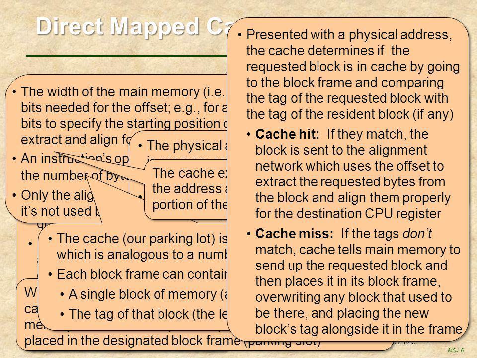 MSJ-6 block # 0 1 2 3 4 5 6 7 8 9 a b c d e f 10 11 12 13 14 15 16 17 18 19 1a memory width = block size main memory tag content (a block) 01234567012