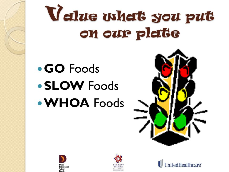 V alue what you put on our plate GO Foods SLOW Foods WHOA Foods