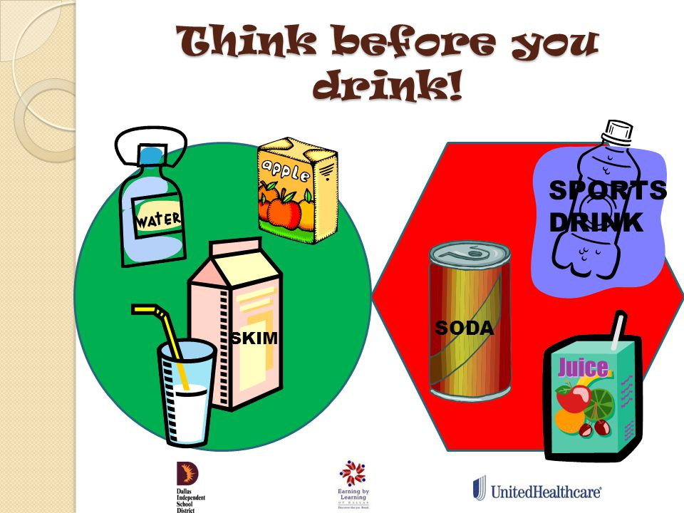 Think before you drink! SODA SKIM SPORTS DRINK