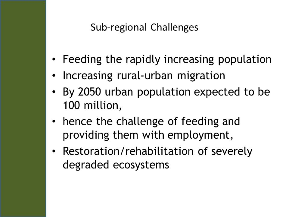 Key Program Result Areas KRAs a) Innovations to enhance crop adaptability to the consequences of climatic change, crop diversification and productivity constraints will be generated B) Efficient and effective bioscience innovations for environmental clean-up, waste management and sustainable use of resources (water and land) will be generated; c) Technology incubation and other mechanisms for putting research into use by communities and industry will be developed and operationalized D) Innovation policies for sustainable harnessing of bio- resources developed and promoted E) An enabling mechanism for mobilization, catalysis and nurture of a strong bio-resource and science-led economic growth agenda for Eastern Africa strengthened and operationalized.