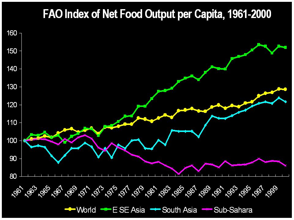 More Africans are getting hungry: Sub-Saharan Africa s share of world hunger is rising sharply Source: USDA/ERS, Food Security Assessment, December 2000 2000: 744 million are hungry globally 334 MILLION AFRICANS 435 MILLION AFRICANS