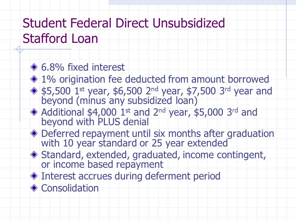 Student Federal Direct Unsubsidized Stafford Loan 6.8% fixed interest 1% origination fee deducted from amount borrowed $5,500 1 st year, $6,500 2 nd year, $7,500 3 rd year and beyond (minus any subsidized loan) Additional $4,000 1 st and 2 nd year, $5,000 3 rd and beyond with PLUS denial Deferred repayment until six months after graduation with 10 year standard or 25 year extended Standard, extended, graduated, income contingent, or income based repayment Interest accrues during deferment period Consolidation