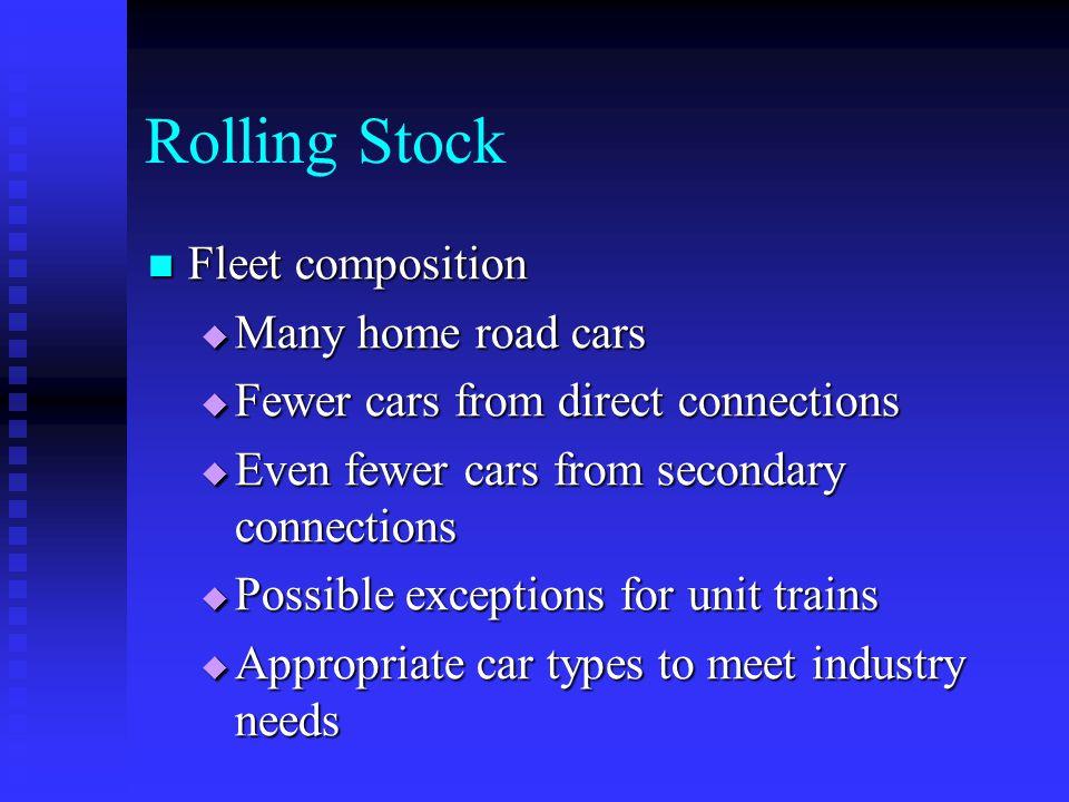 Rolling Stock Fleet composition Fleet composition Many home road cars Many home road cars Fewer cars from direct connections Fewer cars from direct co