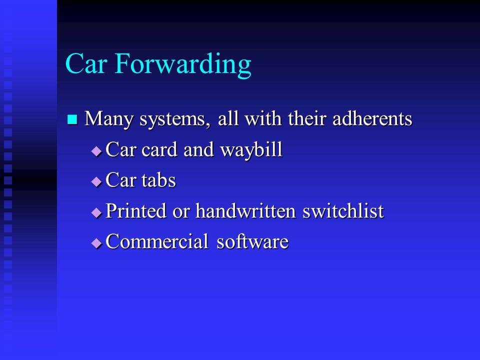 Car Forwarding Many systems, all with their adherents Many systems, all with their adherents Car card and waybill Car card and waybill Car tabs Car ta