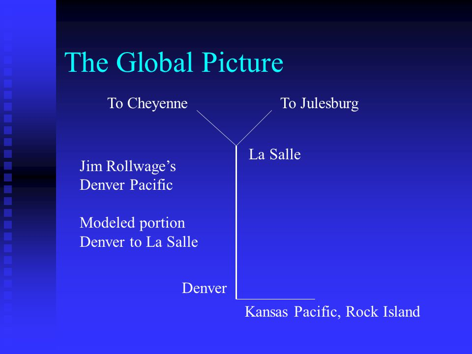 The Global Picture To JulesburgTo Cheyenne La Salle Denver Kansas Pacific, Rock Island Jim Rollwages Denver Pacific Modeled portion Denver to La Salle