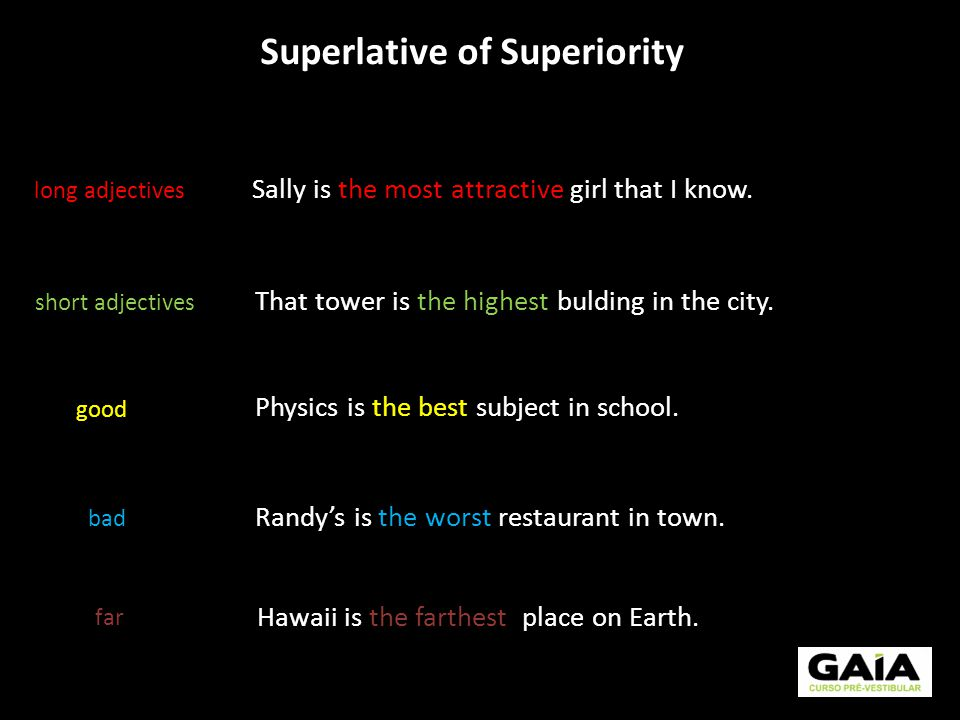 Superlative of Superiority long adjectives short adjectives good bad That tower is the highest bulding in the city. Physics is the best subject in sch