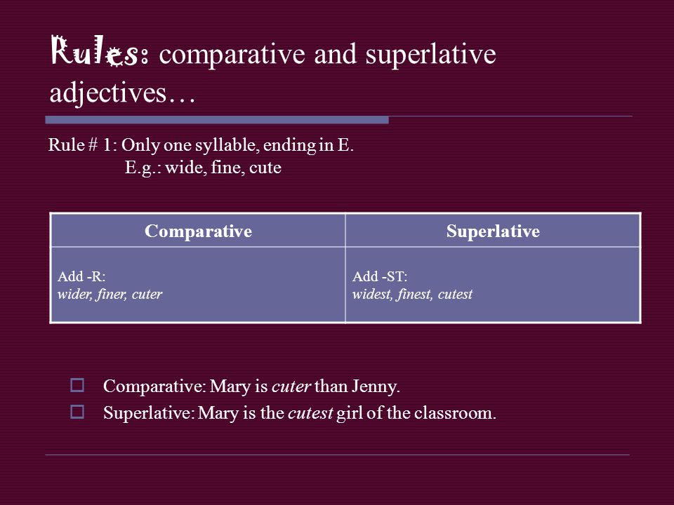 Rules: comparative and superlative adjectives… Rule # 1: Only one syllable, ending in E. E.g.: wide, fine, cute ComparativeSuperlative Add -R: wider,