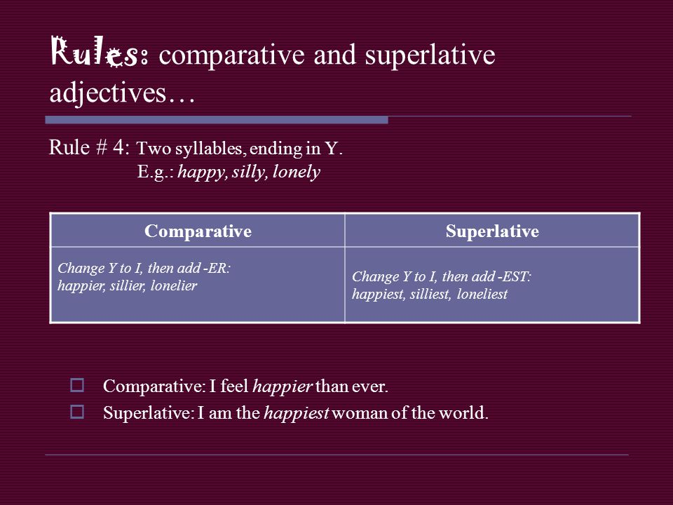 Rules: comparative and superlative adjectives… Rule # 5: Two syllables or more, not ending in Y.