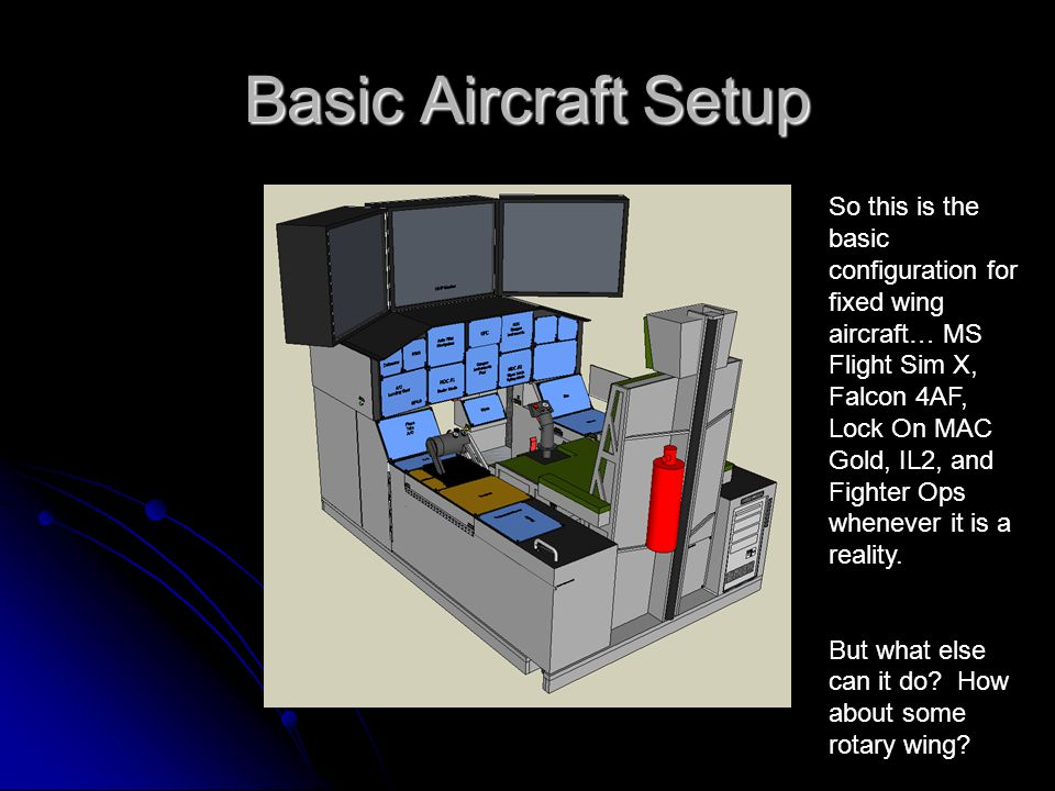 Basic Aircraft Setup So this is the basic configuration for fixed wing aircraft… MS Flight Sim X, Falcon 4AF, Lock On MAC Gold, IL2, and Fighter Ops whenever it is a reality.