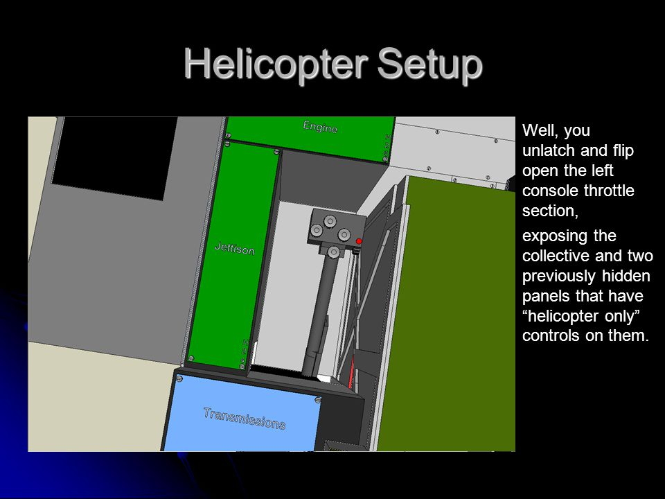 Helicopter Setup Well, you unlatch and flip open the left console throttle section, exposing the collective and two previously hidden panels that have helicopter only controls on them.